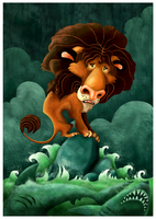The Lion Stranded at Sea by killskerry