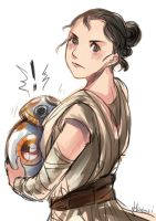 Star Wars 7 - Rey and BB-8 by hatoribaka