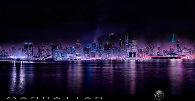 Panoramic Manhattan with Nightfall by AugenStudios