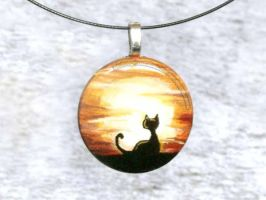 Sunrise Sunset Kitty Pendant / Sold by sobeyondthis