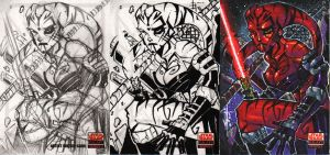 Darth Talon Sketchcard Process by JeremyTreece