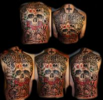 skull back tattoo by Unibody