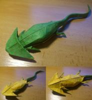 Diplocaulus - Another test-fold by palaeorigamipete
