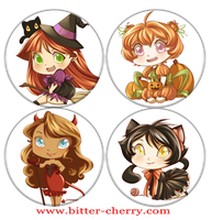 Halloween Chibies by Bitter-Cherry