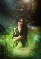 witch in the lake by VeroNArt