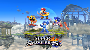 Super Smash Bros. Mario Sonic Pacman and megaman by supermariofan54321