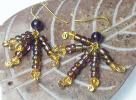 CCB Earrings 1: Purple + Gold by jamberry-song