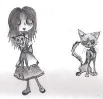 Undead cats and girl by IForgotWhoIam