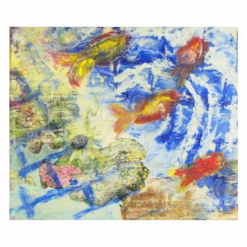 Encaustic Mixed Media Drawing by squibble
