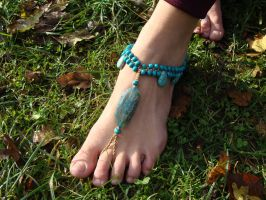 Blue Agate and Howlite Barefoot Sandal by noisypixie