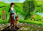 Fem!Bilbo: Belle and Frodo off to Hobbiton market. by WolfWarrior9