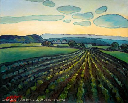 Field with Salad Plants at Dusk by Art-deWhill