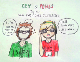 PewDieCry: Trying on sunglasses by vampirepotato