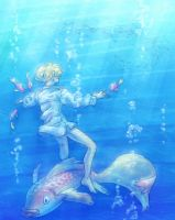 Swimming with the fishes by SybLaTortue