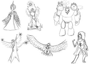 Combo Challenge Sketches by Hawkheart11