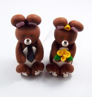 Brown Rabbits Wedding Cake Topper by HeartshapedCreations