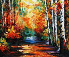 Forest of birches by Leonid Afremov by Leonidafremov