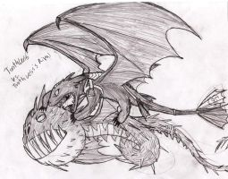 Toothless Vs. His Rival Sketch by Rotommowtom