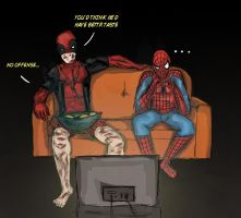 Wade and Peter's movie night by ironcapsicle