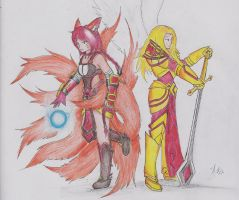 Foxfire Ahri and Unmasked Kayle by Dragon-Wish