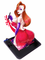 Jessica Rabbit on my wacom by turtlechan