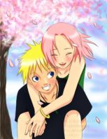 NaruSaku - Piggyback ride by OnigiriMonster