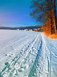 Hiking through a sunny winter scenery by patrickjobst