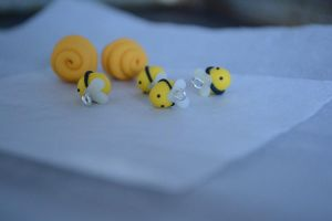Very Tiny Polymer Clay Bees + Beehive Charms by Linnypig