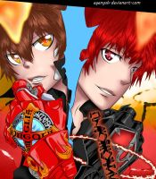Tsuna and Enma in colour by Egenysh