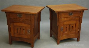 Arch door nighstands pair by DryadStudios