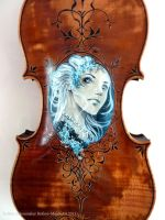 Hand Painted and carved Violin fantasy Design by Hollow-Moon-Art