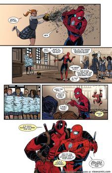 spidey save deadpool by rosewitchcat