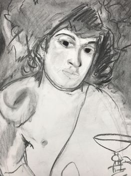 Working on a Caravaggio piece in charcoal by MyHeartisanOpenBook