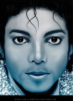 michael jackson blue portrait by magaliB