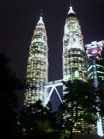 Malaysia twin towers at night by blaze-cro
