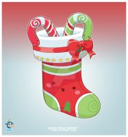 Kawaii Red Christmas Stocking by KawaiiUniverseStudio