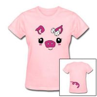 Fuzzy kawaii pig tee shirt by smarmy-clothes