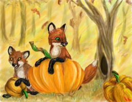 Pumpkin Foxes by Frodo-Lion