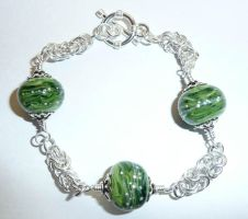 Green chainmaille bracelet by Mystic-Mosaics