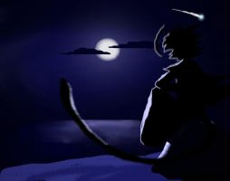 Sebis watching the moon by byona