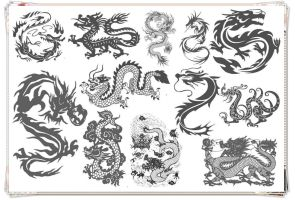 12 Vigorous Loong Brushes by Jiangsir