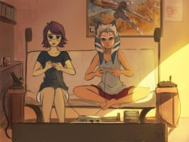 Ahsoka and Barriss gaming time by Raikoh-illust