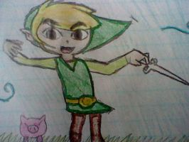 toon link drawing by victoriavaporeon