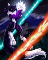 Black Fox with Fire and Ice by Sysirauta