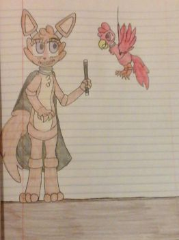 Clemetine the Coyote and Pepi the Parrot by Razorwingproject201