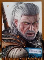 The Witcher 3 Wild Hunt Geralt drawing by Bajanoski