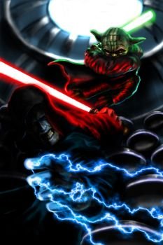 Yoda Vs. Sidious by GurgleSploit