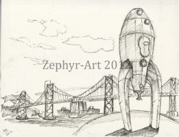 The Rocket Ship at San Francisco by Zephyr-Art