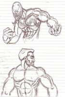 Venom and Brock - bust sketches by OrionSTARB0Y