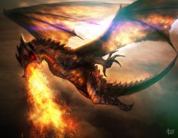 Battle Skies - Fire Dragon by AlexanderLevett